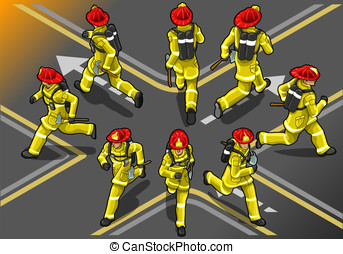 isometric runner firefighter in eight position - Detailed...