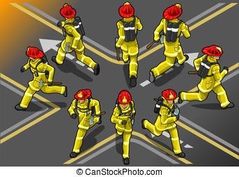 isometric runner firefighter in eight position - Detailed...