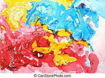 Abstract hand drawn paint background: blue, yellow, and red...
