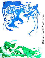Hand drawn paint background: blue sky and green grass abstract patterns