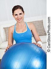 donna, Palla, esercizio, sporgente