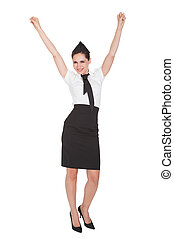 Woman with arms raised in jubilation - Beautiful...