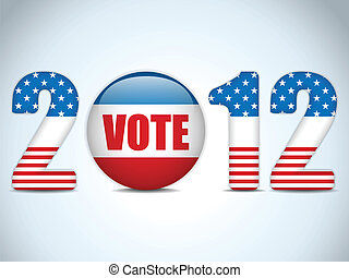 United States Election Vote Button Background - Vector -...