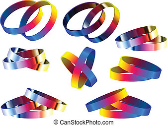Gay Marriage Rainbow Rings and Bracelets - Vector - Gay...