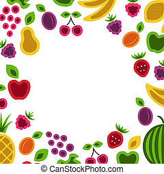 Fruits and berries frame. - Fruits and berries frame...
