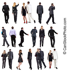 "Collection "" Back view of walking  business people """