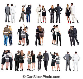 """collection """" Back view of business team """". young couple rear..."""