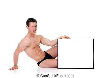 Body Builder advertising board - Young attractive male body...