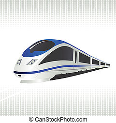 High-speed train on halftone background. Vector...