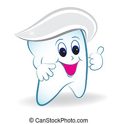Cartoon tooth with thumb and toothpaste - Cartoon tooth...