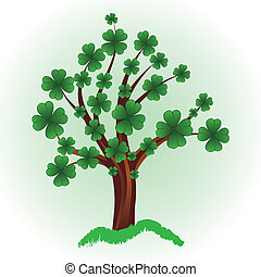 Tree with four leaf clover. - Art tree for St. Patrick's Day...