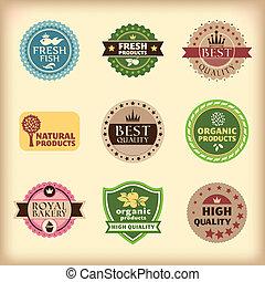 set of different retro labels