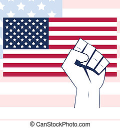 USA flag with fist - USA flag vector with fist Independence...