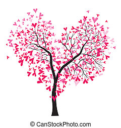 Valentine tree - Abstract vector heart tree, Valentine Day...