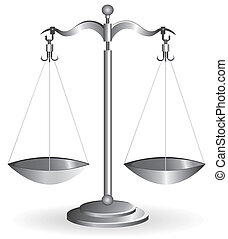 Balance scale isolated on white - Metal balance scale silver...