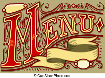 vintage graphic element for menu - Detailed illustration of...