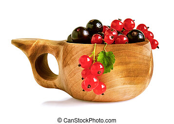 Blackcurrant and redcurrant berries in traditional finnish...