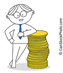 Lucky man with a stack of coins