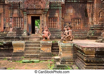 Banteay Srei Wat closeup detailed view, Siem Reap, Cambodia