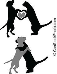 Cat Dog Love - Silhouettes of cats and dogs hugging and...