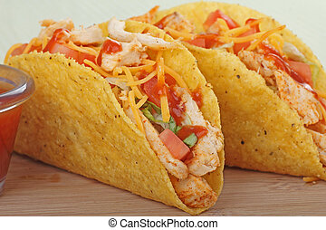 Chicken Taco Closeup - Closeup of two chicken tacos with...