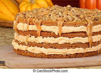 Autumn Pumpkin Cake - Pumpkin layer cake topped with caramel...