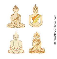 Vector of Chinese Traditional Artistic Buddhism Pattern set