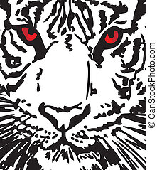 Bosquejo, blanco, tigre, vector, Ilustración