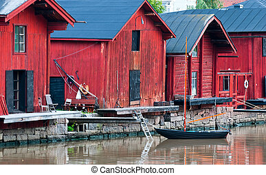 Porvoo. Finland. - Red Barn on the River in the city of