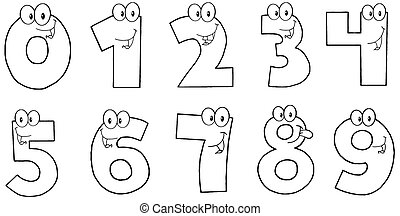 Outlined Funny Numbers Cartoon Characters . Collection