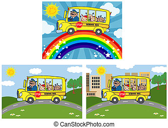 School Bus With Children.Collection - School Bus With Happy...