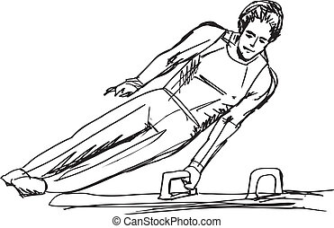 Sketch of Gymnast performs on the pommel horse. Vector...