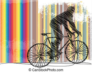 Drawing of biker with colorful background. Vector...