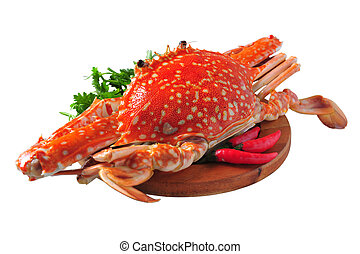 Red steamed blue crab, isolated on white background