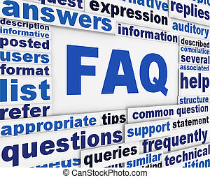 FAQ poster conceptual design. Questions and answers message...