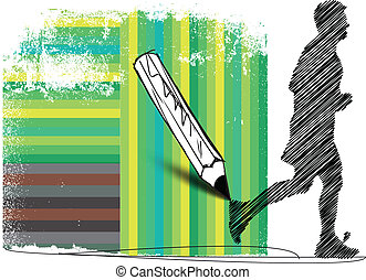Drawing of Marathon runner in abstract background. Vector illustration