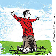 sketch of happy soccer player is celebrating a goal. Vector...