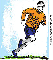 Sketch of Soccer Player Vector illustration