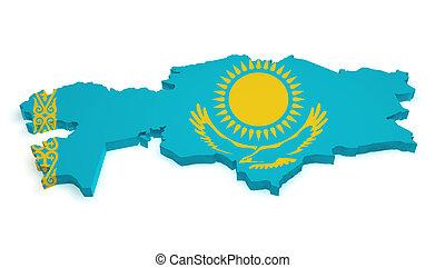 Kazakhstan Map Flag Shape