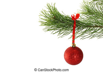 Branch of fir and Christmas ball on a white background