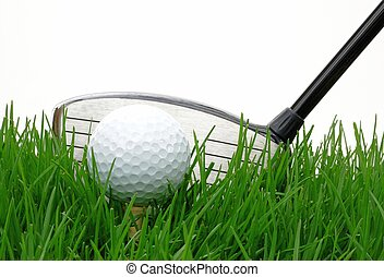 Golf - Driver behind a golf ball against at white background