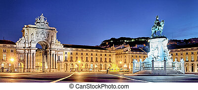 panoramic view of commerce square by night - panoramic view...