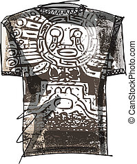 Grunge inca tee Vector illustration