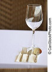 桌子, 晚餐, 餐館, 好,  settin