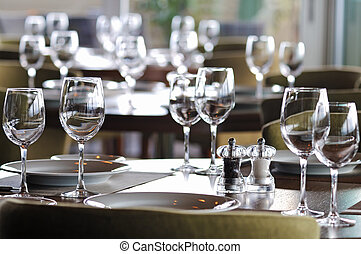 Empty glasses in restaurant - Table in the five star...