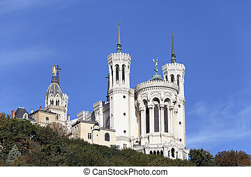 Lyon famous basilica in the big blue sky