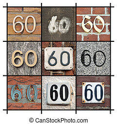 Numbers Sixty - Collage of House Numbers Sixty