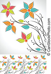 Set of fancy flower and border