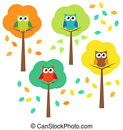 Autumn trees and owls. Vector set