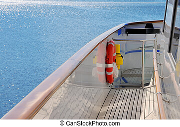 Yacht deck with blue sea